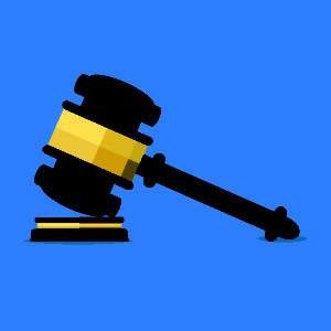 Business Litigation - Isometric vector image on a blue background, a gavel with a wooden block, the conclusion of business litigation